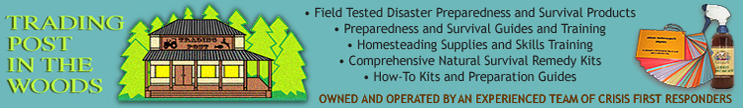 Disaster Preparedness and Survival products. guides, and training, homesteading guides and raining, storable food, natural remedy kits. Owned and operated by professional crisis first responders.